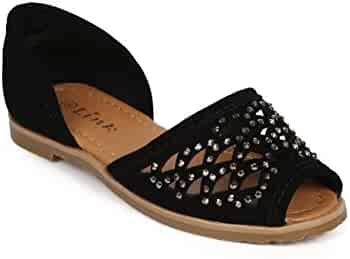 5e547ce75a9e Link Nubuck Studded Hollow Out Peep Toe D Orsay Flat (Toddler Little Girl