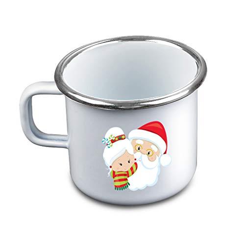 (Santa Claus Misses Claus Metal Camping Mug Enamel)