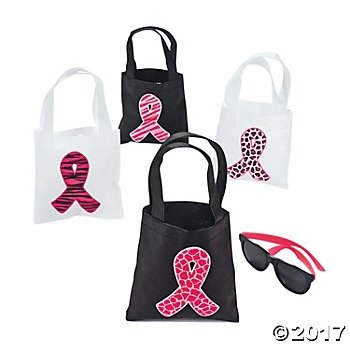 24 Pink Ribbon Mini Tote Bags/Breast Cancer/Event/Fundraiser]()