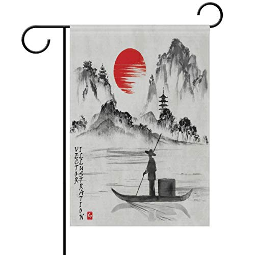 Yochoice ALAZA Traditional Japanese Painting Art Polyester Garden Flag House Banner 28 x 40 inch, Two Sided Welcome Yard Decoration Flag for Wedding Party Home Decor