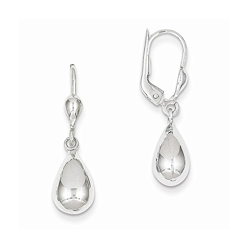 14k Gold White Gold Polished Dangle Leverback Earrings (1.14 in x 0.28 in)