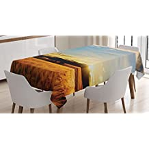 Ambesonne Rustic Tablecloth, Yellow Barley in Sunset Sun Rays on Flora Shadows of Clouds Rural Field Print, Dining Room Kitchen Rectangular Table Cover, 52 W X 70 L Inches, Yellow White Blue
