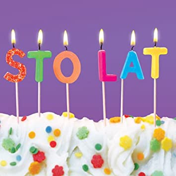 Polish Happy Birthday Greeting Card Colourful Candles And Cake