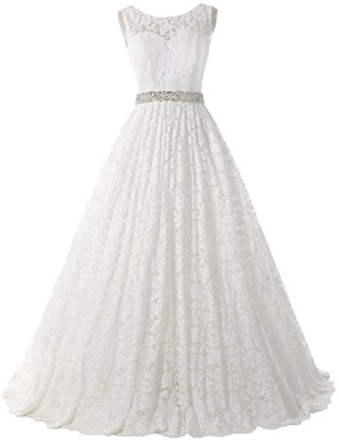 Solovedress Women's Ball Gown Scoop Lace Princess Wedding Dress 2017 Sash Beaded Bridal Evening Gown (US 16 Plus,Ivory) by SOLOVEDRESS