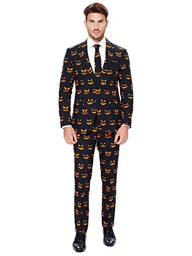 OppoSuits Halloween Costumes for Men - Black-O Jack-O - Full Suit: Includes Jacket, Pants and Tie - US48