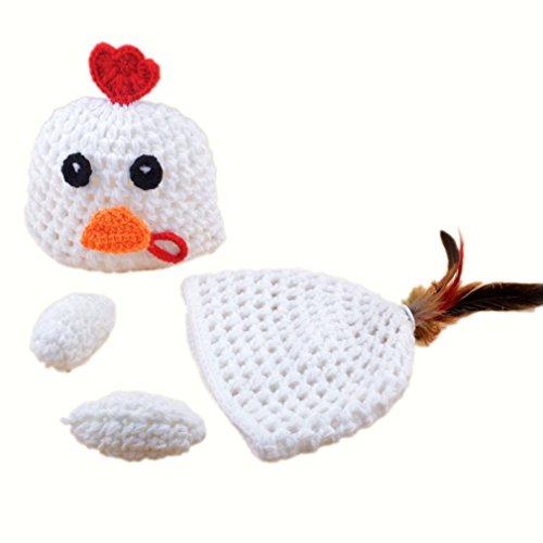 Elee Newborn Baby White Chicken Hat Crochet Knit Photo Prop Costume (Chicken Hats)