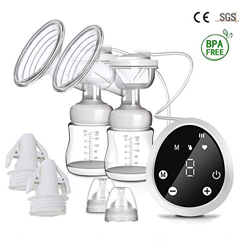 Dodubaby Double Electric Breast Pump, Breastfeeding Pump,Rechargeable Portable Nursing Breastfeeding Pump with 3 Modes & 9 Levels, Full Touchscreen LED Display