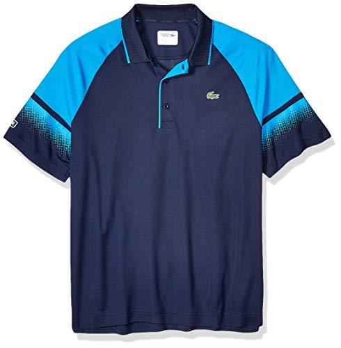 (Lacoste Men's Sport Short Sleeve Ultra Dry Raglan Polo W/Gradient Print, Navy Blue/PRATENSIS/White, Large)