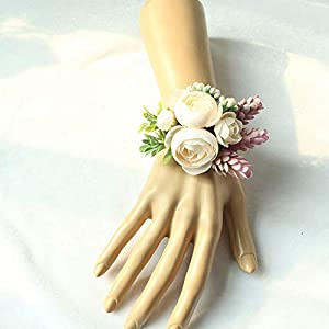 Lovgrace Wrist Corsage Wedding Silk Flowers Artificial Flower Lifelike Bracelet Wedding Prom Wrist Corsage Hand Flower Marriage Wedding Accessories 2pcs. 73