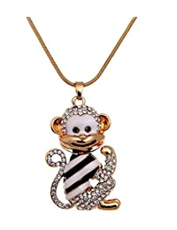 Epinki Women Stainless Steel Necklace Cubic Zirconia Monkey Animal Statement Necklace Pendant 80Cm