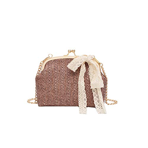 Bigidols Handbag Women Beach Bow Straw Bag Burlap Square Bag Beach Bag Wicker Rattan Bag Mulit Style Handbag,Coffee (Rap The Wicker)
