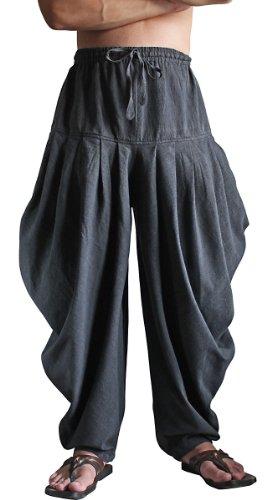 Sawan Men's ChomThong Hand Woven Cotton Salwar Style Draped Pants Charcoal Gray