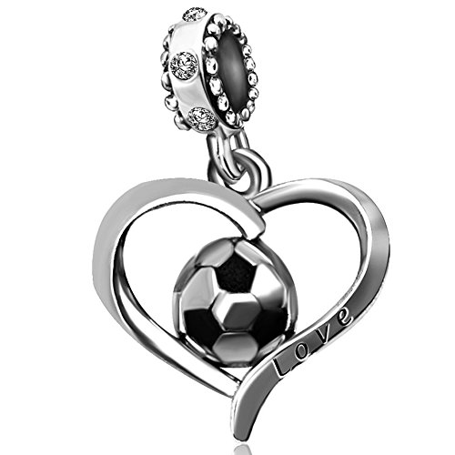 JMQJewelry Heart FIFA World Cup Love Football Charms Beads Soccer Bracelets ()