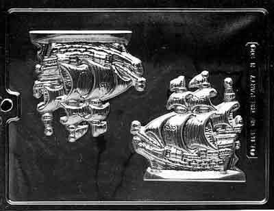 Cybrtrayd N050 Pirate Ship Chocolate Candy Mold with Exclusive Cybrtrayd Copyrighted Chocolate Molding Instructions