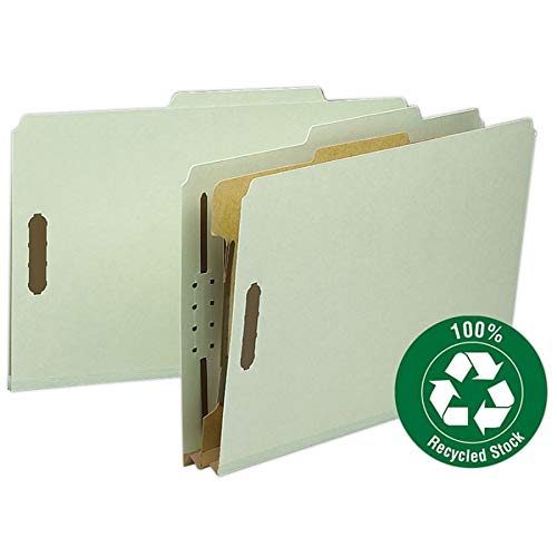 Smead 100% Recycled Pressboard Classification File Folder, 1 Divider, 2