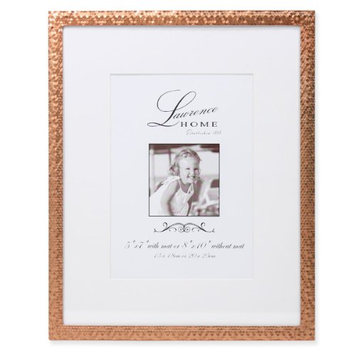 Lawrence Frames Rose Shimmer Metal, Holds 5 by 7-Inch Picture Frame with Mat and 8 by 10-Inch without Mat, Gold ()