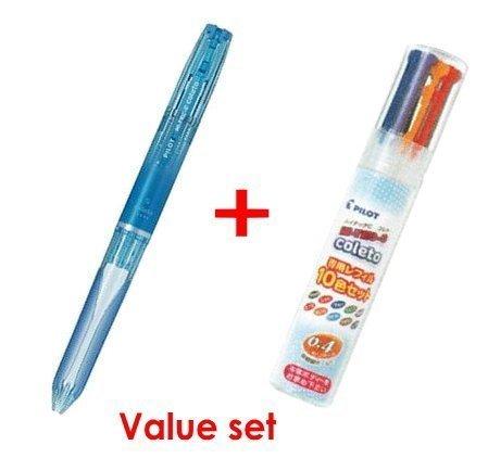Pilot Hi-tec-c Coleto 5color Multi Pen Body Component - Clear Blue Body & Multi Pen Ink Cartridge - 0.4mm - 10color Starter Set by Pilot