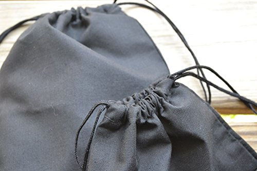 12''x18'' COTTON DOUBLE DRAWSTRING MUSLIN BAGS (Black Color) (25)