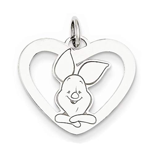 - Roy Rose Jewelry Sterling Silver Disney Piglet Heart Charm Necklace Complete with Chain