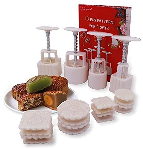 16 Pcs Moon Cake Stamps for 4 Sets,Lucky Gourd Mid Autumn Festival DIY Mooncake Mold,50g / 100g (White)