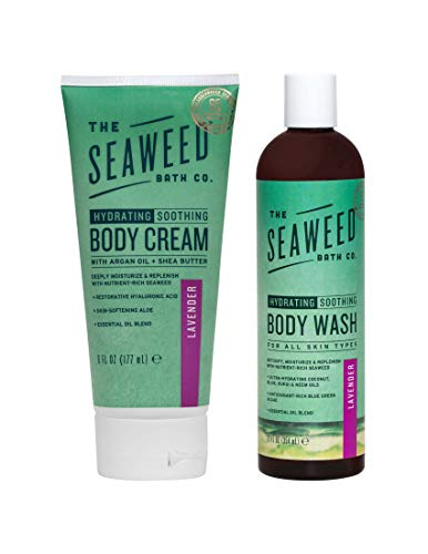 Seaweed Bath Co. Lavender Wildly Natural Seaweed Body Wash and Body Cream Bundle With Organic Coconut Oil, Olive Oil, Castor Oil, Kukui Oil, Alkanet and Rosemary, 12 oz. and 6 oz.