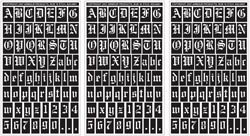 Armour Products Rub 'n' Etch Glass Etching Stencils 5''X8'' 3/Pkg Old English Letters & Numbers 12-7026 by Armour