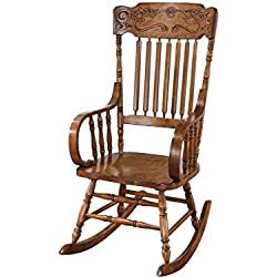 Coaster Traditional Wood Rocking Chair with Ornamental Headrest and Oak Finish