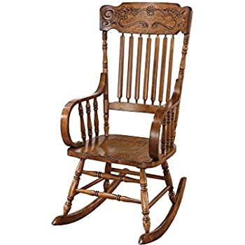 Ordinaire Coaster Traditional Wood Rocking Chair With Ornamental Headrest And Oak  Finish