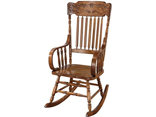 Rocking Chair with Ornamental Headrest Warm Brown