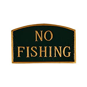 Montague Metal Products SP-25sm-HGG No Fishing Arch Statement Plaque, Small, Hunter Green and Gold