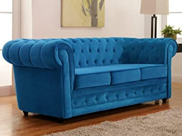 Canapé 3 places en velours CHESTERFIELD - Bleu turquoise: Amazon.fr ...