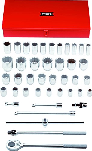 Stanley Proto J55106 3/4-Inch Drive Combination Socket, Set, 12 and 6 Point, 42-Piece