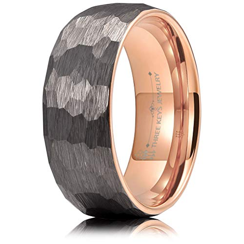 - THREE KEYS JEWELRY 8mm Hammered Irregular Diamond-Shaped Brushed Silver Tungsten Wedding Ring with Rose Gold Interior Engagement Band Domed Size 9