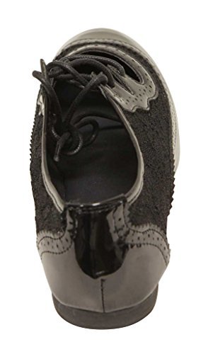 Out Perforated up 5p Cut Athletic Paisley Oxfords Lace Rosy Patent ANNA Women's Black Spring Hollow Fashion 4nSv05Px