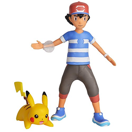 (Pokemon 4.5 Inch Battle Feature Action Figure, Features Ash and Launch into Action 2 inch  Pikachu)