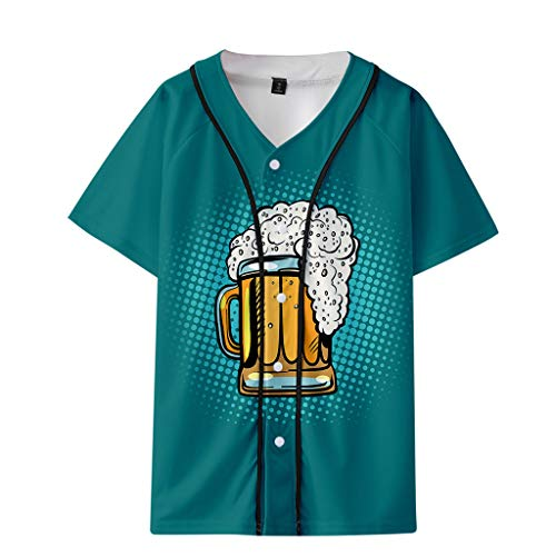 GREFER Loose Fit Thin Short Sleeve Shirts - Mens V-Neck Beer Printed Festival Tops - Casual Baseball Basic T-Shirts Plus Size Mint Green ()