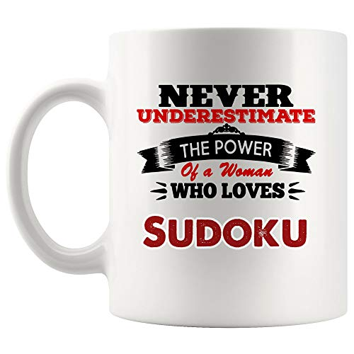 - Never Underestimate Women Love Sudoku Mug Coffee Cup Tea Mugs Gift | Mom Mother Girl Sister Aunt Kakuro Game crossword puzzle children Funny Lover Men Women Kids Sayings Travel