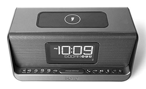 iHome Ibn350 Alarm Clock FM NFC Bluetooth Radio with Lightning iPhone QI Wireless Charging Dock Station for iPhone Xs, Max, XR, X, iPhone 8/7/6 Plus USB Port to Charge Any USB Device - Ipod Port Dock