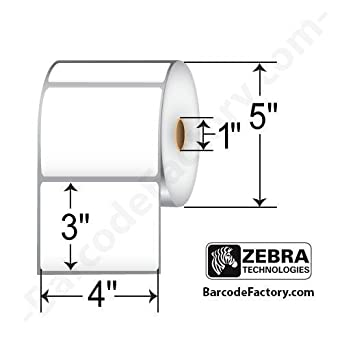 """Zebra Technologies 10010032 Z-Perform 2000D Paper Label, Direct Thermal, Perforated, 4"""" x 3"""", 1"""" Core, 5"""" OD, 840 Labels per Roll (Pack of 6)"""
