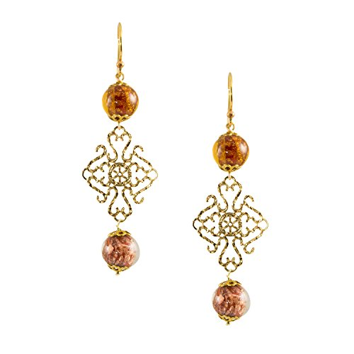 (Just Give Me Jewels Gold Plated Lace with Venice Murano Aventurina Amber Glass Bead Dangle)