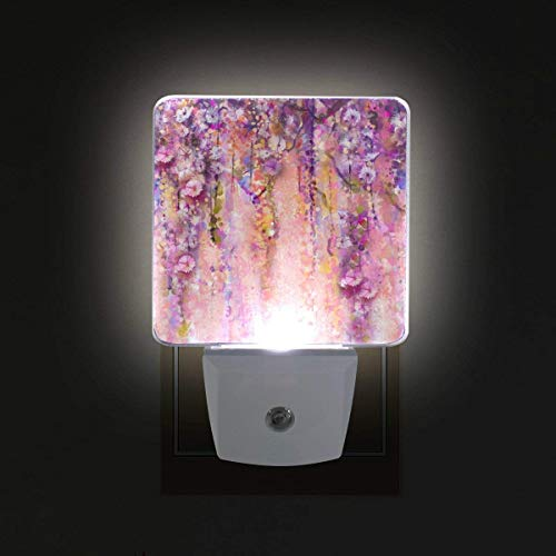 xiaodengyeluwd 2 Pack Pink Violet Watercolor Flowers Painting Wisteria Tree Pattern Plug in Dusk to Dawn Light Sensor LED Night Light Wall Light for Bedroom, Bathroom, Stairs, Energy Efficient
