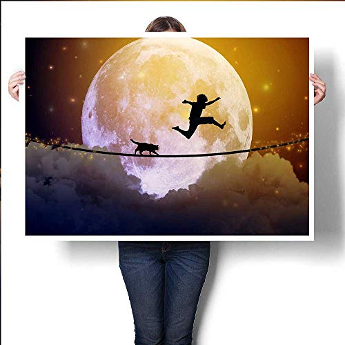 Happy boy Teenager and cat Jumping on a Tight Rope Above Clouds with Moonlight Moon Background Happiness Friendship Care Free Concept Elemenpainting Drop clothpainting canvas32