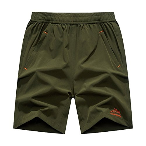 JINSHI Men's Casual Outdoor Quick Dry Lightweight Gym Running Sports Shorts (Army green,M)