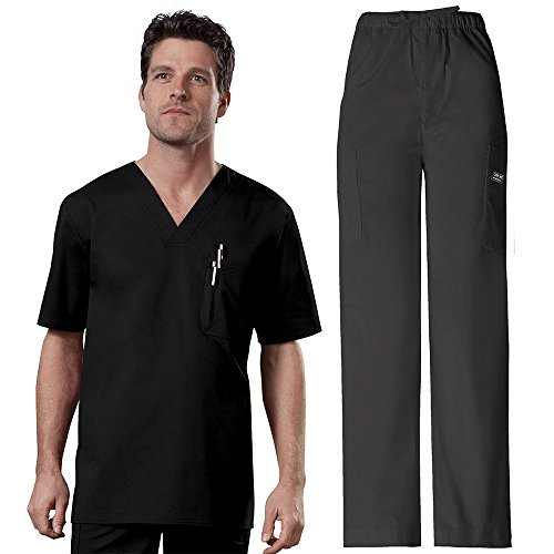 Cherokee Workwear Core Stretch Men's V-Neck Top & Utility Pant Scrub Set Medium Black by Cherokee