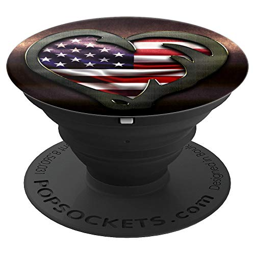 Fishing & Hunting Heart American Flag Gift Hunters Fisherman - PopSockets Grip and Stand for Phones and Tablets