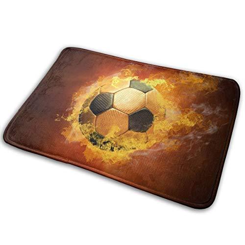 - Reteone Fashion Doormat Creative Soccer with Fire Entrance Floor Rug 60X40CM Non-Slip Coral Velvet Indoor & Outdoor Door Mats for Kitchen