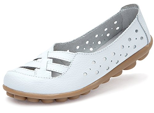 Fangsto Women's Leather Loafers Flats Sandals Slip-On US Size 8.5 White