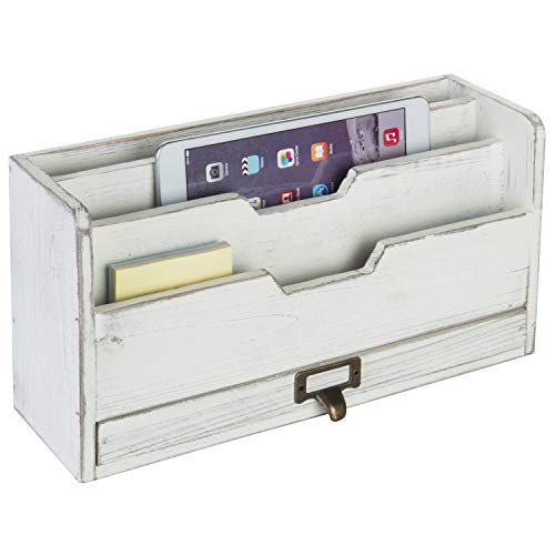MyGift Vintage White Wood Desktop 3-Slot Mail Sorter with Pullout Drawer