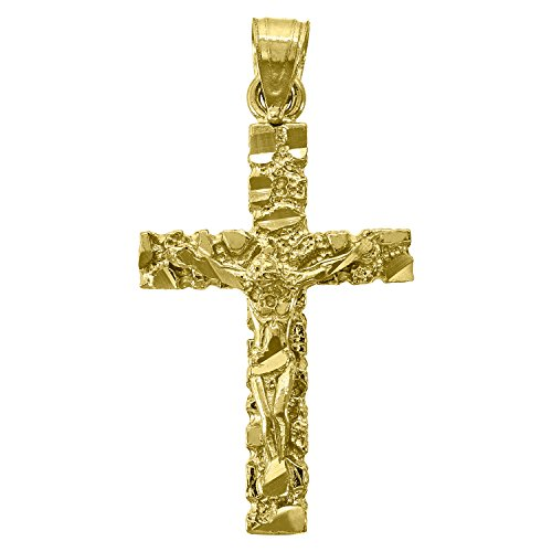 14kt Gold Mens Diamond Cut Nugget Cross Crucifix Height 32.8mm Religious Pendant - Charm Pendant Nugget Jewelry