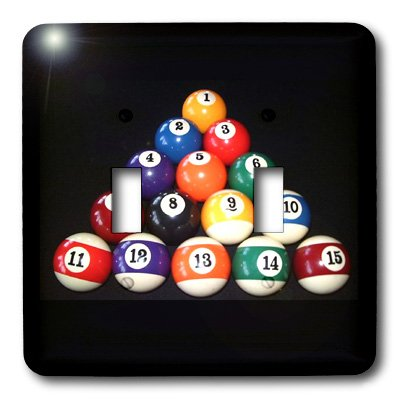 3dRose LLC lsp_3317_2 Billiards Balls Pool, Double Toggle Switch ()